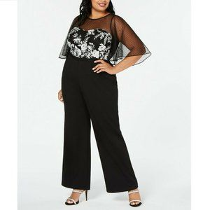 Adrianna Papell 16W Black Jumpsuit NWT AI32-3